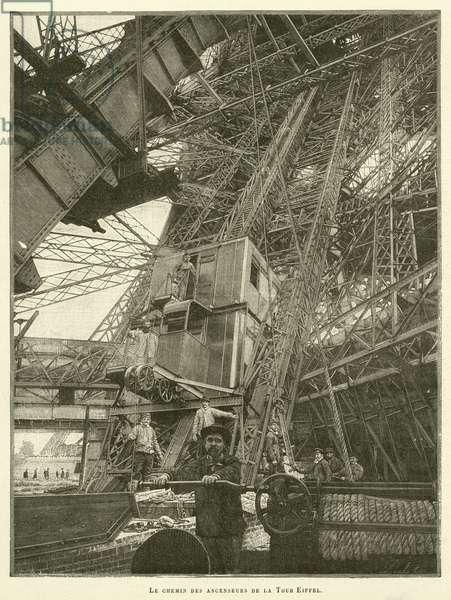 Le chemin des ascenseurs de la Tour Eiffel (engraving)