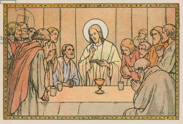 Scene from the life of Jesus (coloured engraving)