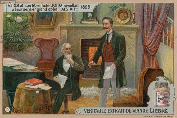 Verdi and Boito Compose Falstaff (chromolitho)