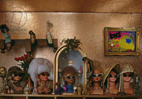 Shelf of Barbie doll heads in a designer's apartment (photo)