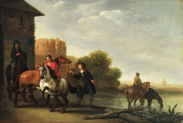 Riders Watering their Horses (oil on canvas)