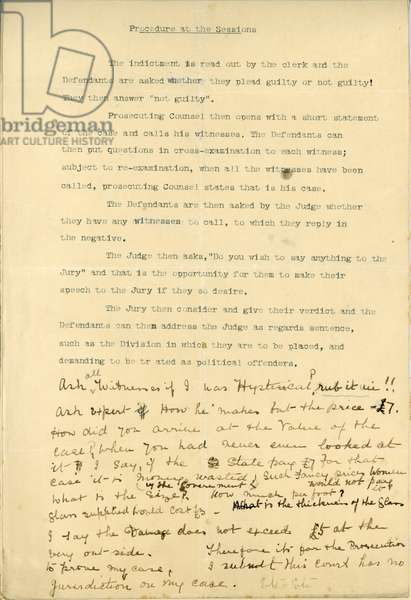 Form stating Procedure at the Sessions, and used by Mrs. L. Cohen to set down notes for her defence, 1913 (print & pen and ink on paper)