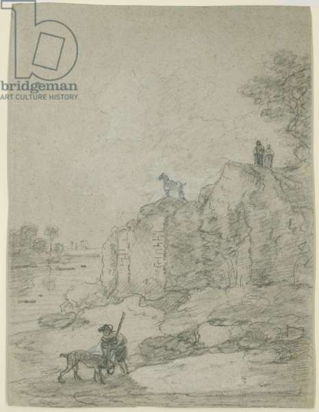 Banks of the Tiber, Rome (chalk on paper)