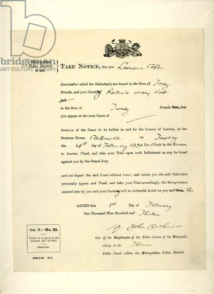 Legal summons to Leonora Cohen to appear at the Session House, Clerkenwell, 4 February 1913 (print & pen and ink on paper)