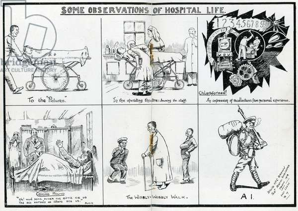 Some observations of hospital life, illustration from the 'Journal of Leeds Territorial Hospitals April' 1918 (litho)
