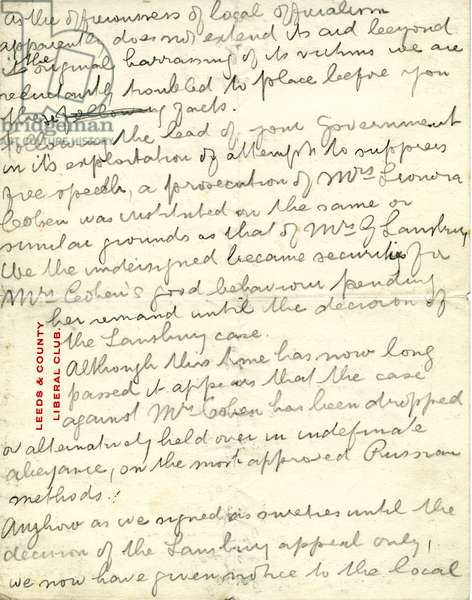 Draft of letter from Henry Cohen to the Home Office informing them he is no longer happy to accept responsibility for Leonora Cohen if she is released under the Cat and Mouse Act, page 2, 1913 (pencil on paper)
