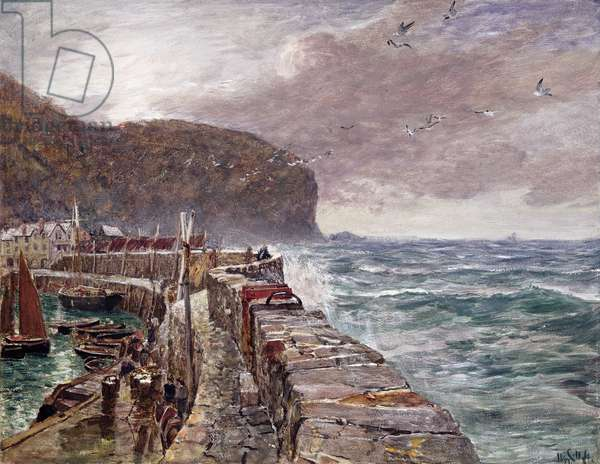 Clovelly Pier, 1897 (gouache on paper)