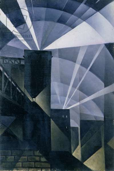The First Searchlights at Charing Cross, 1914 (oil on canvas)