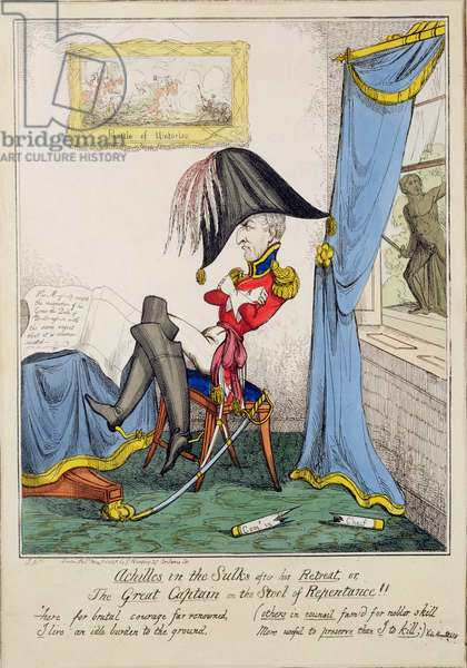 'Achilles in the Sulks After His Retreat or, The Great Captain on the Stool of Repentance', pub. by G. Humphrey, May 7th 1827 (coloured engraving)