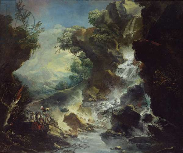 Landscape with Waterfall, c.1700-07 (oil on canvas)