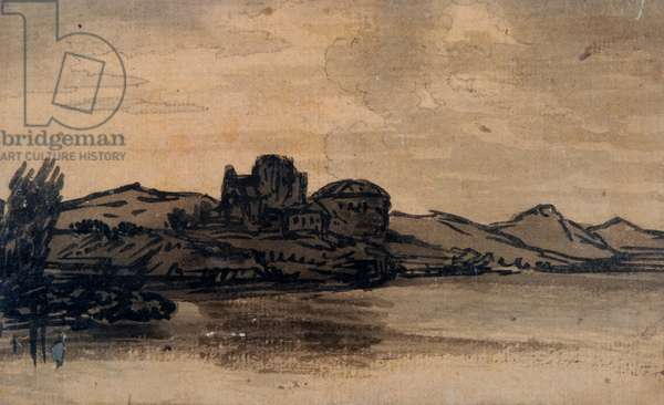 Italian Landscape with Domed Building (pencil & wash on paper)