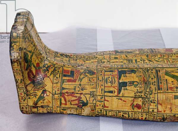 Detail of the outer coffin of the mummy of Nesyamun, possibly found at Deir El-Bahri, New Kingdom, c.1100 BC (painted wood)