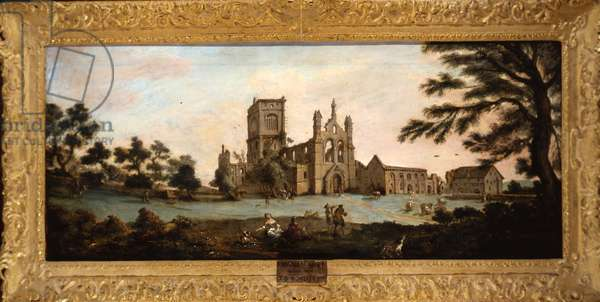 View of Kirkstall Abbey from the North West, 1738 (oil on canvas)