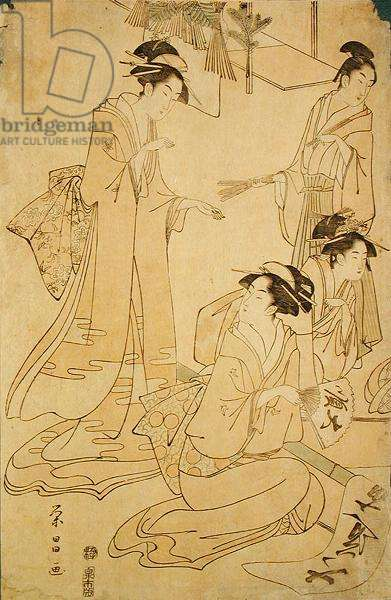 Three Ladies and a Young Man Receiving New Year Visitors (woodblock print)