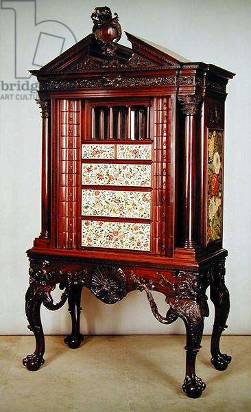 The Bellot needlework cabinet, open, c.1745 (mahogany) (see also 144873)
