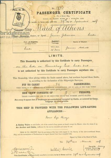 Passenger certificate for steam ship The Maid of Athens, 1899 (print & pen and ink on paper)