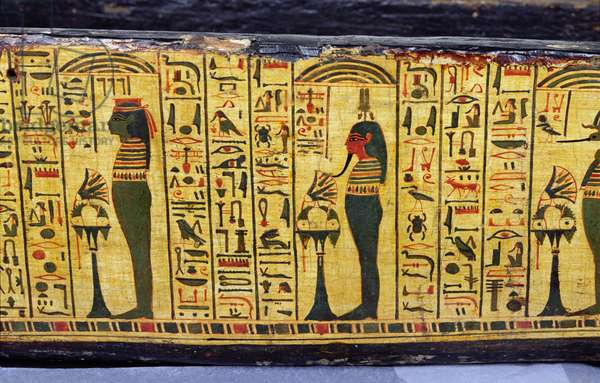 Detail of the outer coffin base of the mummy of Nesyamun, possibly found at Deir El-Bahri, New Kingdom, c.1100 BC (painted wood)
