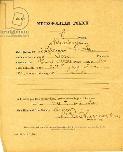 Legal summons to Leonora Cohen to appear at the Bow Street Police Court at 10 am on 24 November 1911 (print & pen and ink on paper)