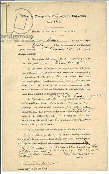 Notice to be given to prisoner, Leonora Cohen, discharged from Leeds Prison 1st - 8th December 1913 (print & pen and ink on paper)
