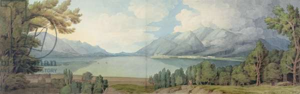 Derwentwater from the South, 1786 (pen & ink and w/c on paper)