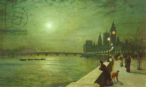 Reflections on the Thames, Westminster, 1880 (oil on canvas)