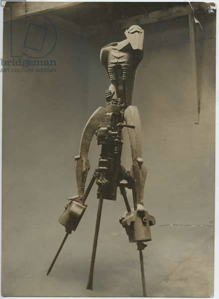 Photograph of the unfinished 'Rock Drill' in Jacob Epstein's studio, c.1915 (plaster & industrial rock drill)
