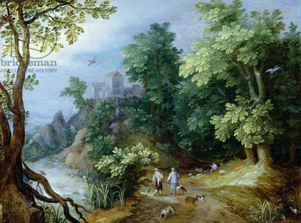 Landscape with Sportsmen and Dogs (oil on copper)