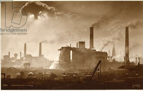 View of the Leeds Steel Works, c.1920 (b/w photo)