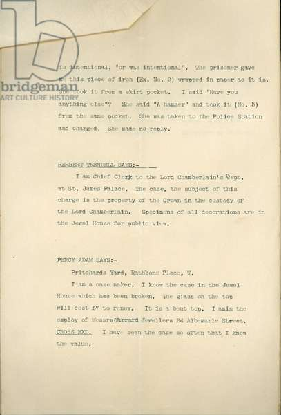 Type-written evidence in the court case against Mrs. Leonora Cohen (for breaking glass at the Tower), page 2, 1913 (print)