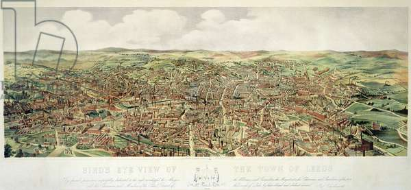 Bird's-Eye View of Leeds, pub. by Frank Pettingell and Brownlow T. Thompson, c.1880 (colour litho)