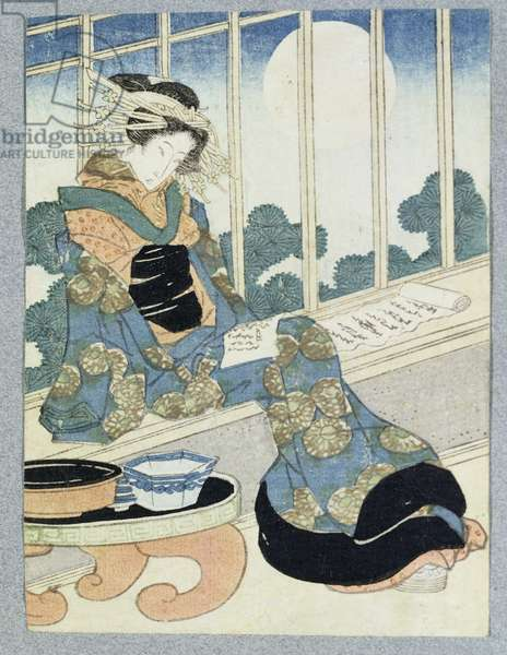 Japanese Lady Reading by Moonlight (woodblock print)