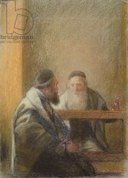 Interior with Two Rabbis (pastel on paper)