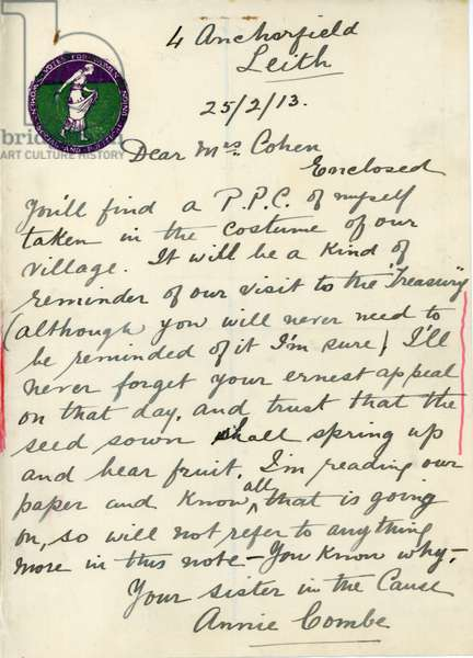Letter from Annie Combe to Mrs Leonora Cohen, dated 25th February 1913 (pen & ink on paper)