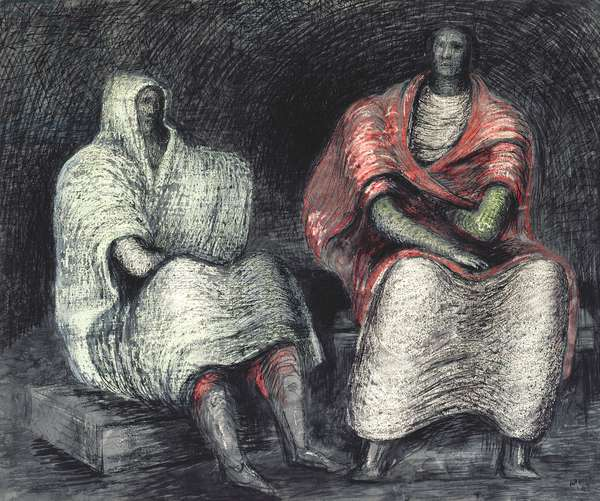 Air Raid Shelter - Two Women, 1941 (pen & ink with wash on paper)