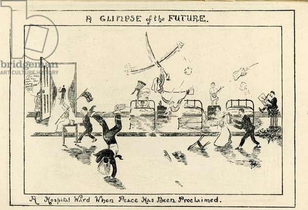 'A Glimpse of the Future', illustration from the 'Journal of Leeds Territorial Hospitals April' 1918 (litho)