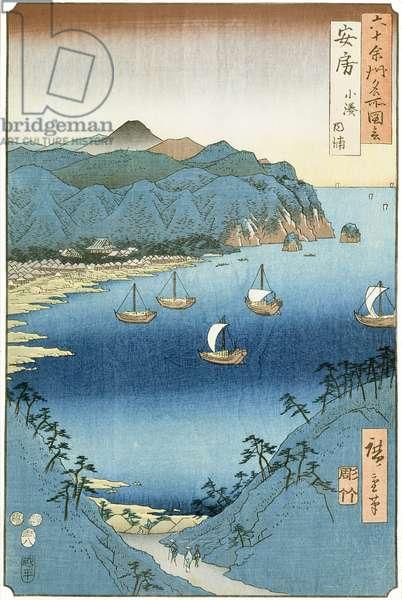 Kominato Bay, Awa Province (woodblock print)