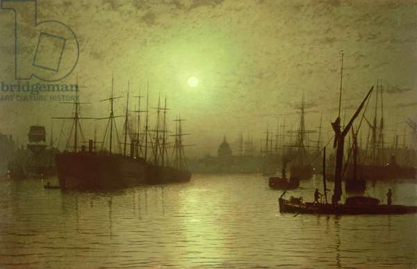 Nightfall Down the Thames, 1880 (oil on canvas)