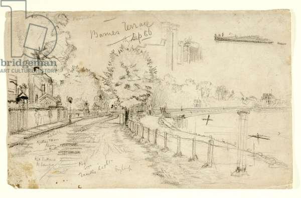 Thames at Barnes, 1886 (pencil & charcoal on paper)