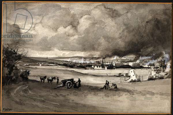 Hunslet from John O'Gaunt Hill, c.1900-09 (pen & ink and w/c on paper)