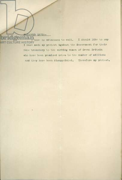 Type-written evidence in the court case against Mrs. Leonora Cohen (for breaking glass at the Tower), page 3, 1913 (print)