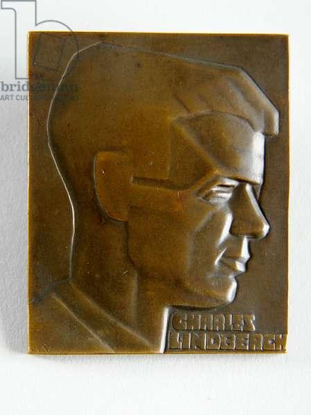 Medallion of Charles Lindbergh, 1927 (bronze)