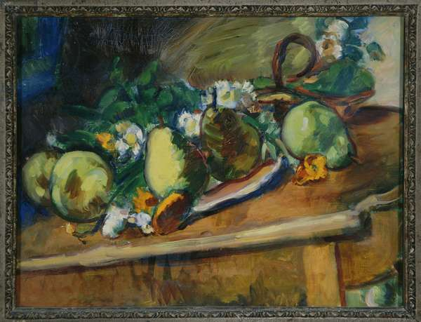 Pears and Marigolds (oil on canvas)