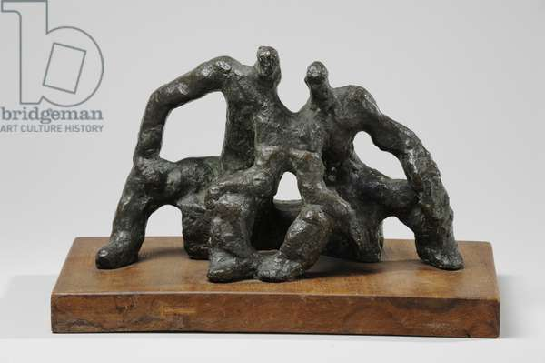 Maquette for The Neighbours, 1957-59 (bronze & wood) (see also 876085)