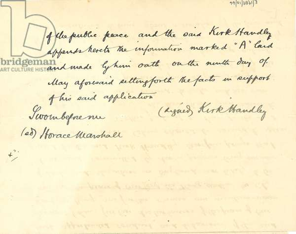 Information and Complaint of Kirk Handley, Deputy Chief Constable of the City of Leeds, page 1 reverse, 9th May 1913 (pen & ink on paper)