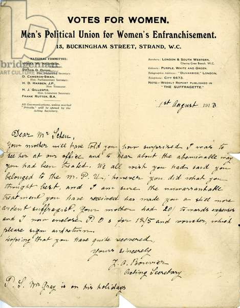 Letter from the Men's Political Union for Women's Enfranchisement to Mr Ernest Shew about expense claims, 1 August 1913 (pen & ink on paper)