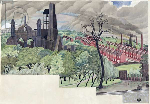 Millworkers Landscape, c.1920 (pen & ink and gouache on paper)