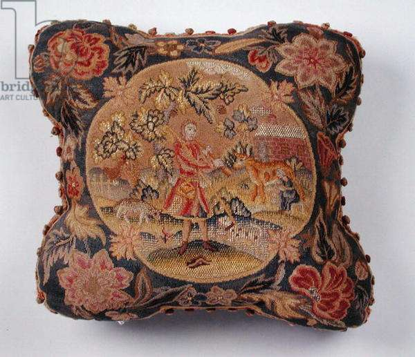 Cushion, embroidered in petit point, depicting a shepherd in a landscape (textile)
