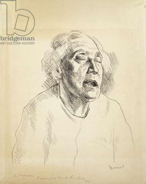 The Artist's Mother 'De Profundis', c.1925 (pencil on paper)