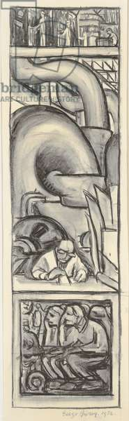 Steam, cartoon for the 'Detroit Industry' frescoes, 1932 (charcoal on paper)