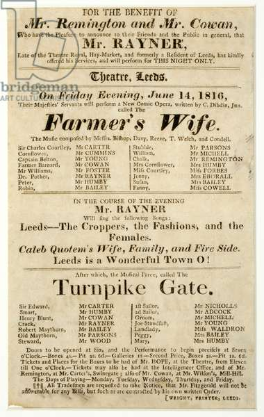 """Handbill advertising a one-night-only performance by Mr. Rayner in """"The Farmer's Wife"""" and """"Turnpike Gate"""" at the Theatre, Leeds, 14th June 1816 (print)"""